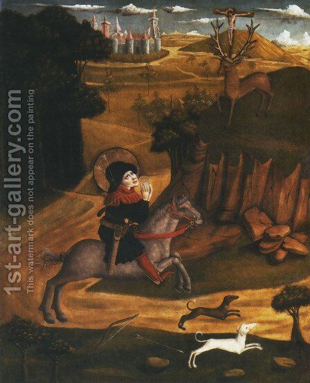 St. Eustache on the Hunt by - Unknown Painter - Reproduction Oil Painting