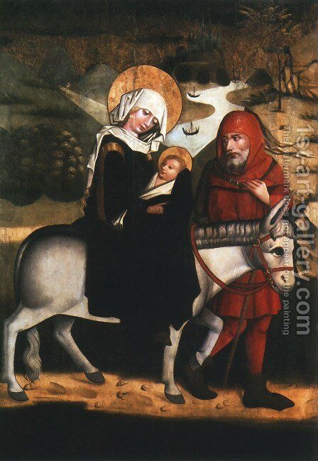 Flight into Egypt by - Unknown Painter - Reproduction Oil Painting