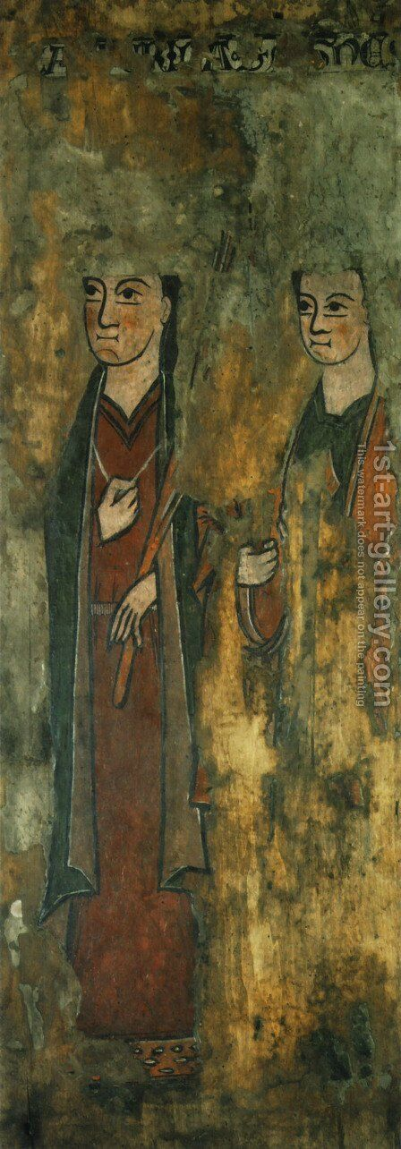 St. Catherine and St. Agnes by - Unknown Painter - Reproduction Oil Painting