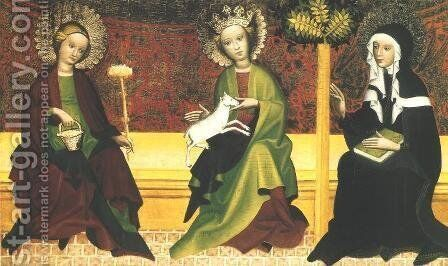 St. Martha, Agnes and Clara by - Unknown Painter - Reproduction Oil Painting