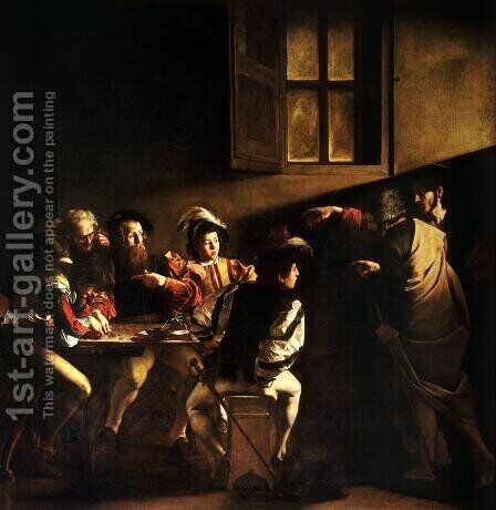 Calling of St. Matthew (Vocazione di san Matteo) by Caravaggio - Reproduction Oil Painting