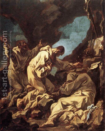 Three Camaldolite Monks at Prayer (Tre monaci camaldolesi in preghieri) by Alessandro Magnasco - Reproduction Oil Painting
