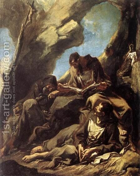 Three Capuchin Friars Meditating in their Hermitage (Tre frati cappuccini in meditazione nell'eremo) by Alessandro Magnasco - Reproduction Oil Painting