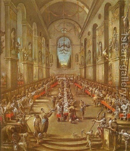 Observant Friars in the Refectory (Refettorio dei frati osservanti) by Alessandro Magnasco - Reproduction Oil Painting