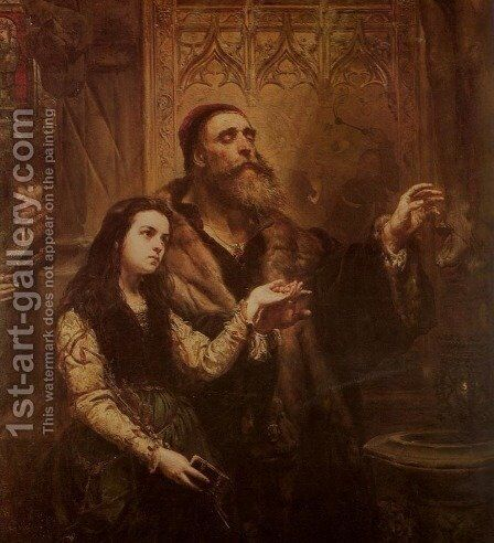 Blind Wit Stwosz with His Granddaughter by Jan Matejko - Reproduction Oil Painting