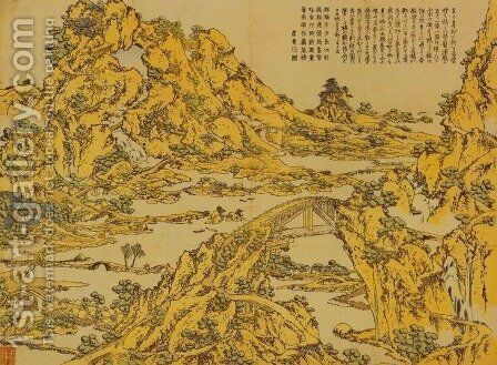 Landscape with a Hundred Bridges by Katsushika Hokusai - Reproduction Oil Painting