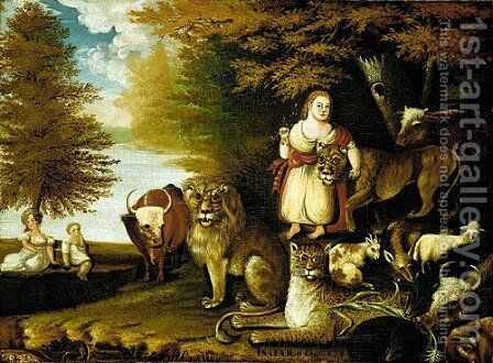 Peaceable Kingdom by Edward Hicks - Reproduction Oil Painting