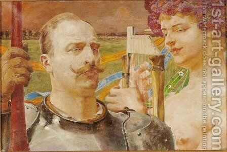 Knight and His Muse by Jacek Malczewski - Reproduction Oil Painting