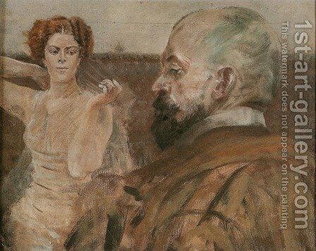 Self-Portrait with a Woman by Jacek Malczewski - Reproduction Oil Painting