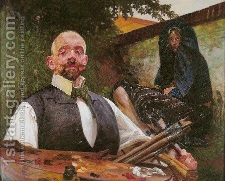 Self-Portrait with Muse by Jacek Malczewski - Reproduction Oil Painting