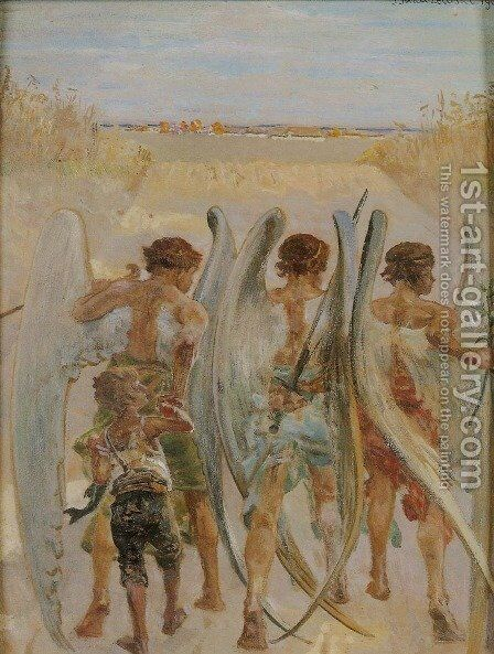 Three Angels with Tobias by Jacek Malczewski - Reproduction Oil Painting