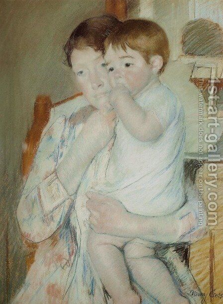 Mother and Child Against a Green Background or Maternity by Mary Cassatt - Reproduction Oil Painting