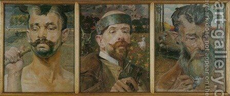 Self-Portrait with Fauns. Triptych by Jacek Malczewski - Reproduction Oil Painting