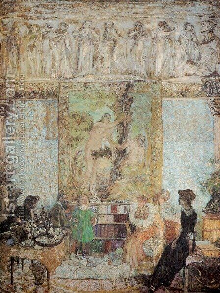 Library by Edouard  (Jean-Edouard) Vuillard - Reproduction Oil Painting