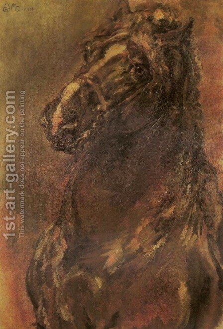 Horse Study by Jan Matejko - Reproduction Oil Painting
