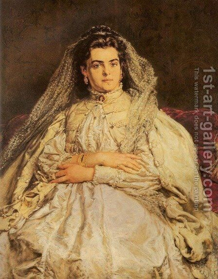 Portrait of Artist's Wife in a Wedding Dress by Jan Matejko - Reproduction Oil Painting