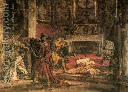 Slaying of St. Stanislaus by Jan Matejko - Reproduction Oil Painting