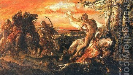 Slaying of Leszek the White in Gasawa by Jan Matejko - Reproduction Oil Painting