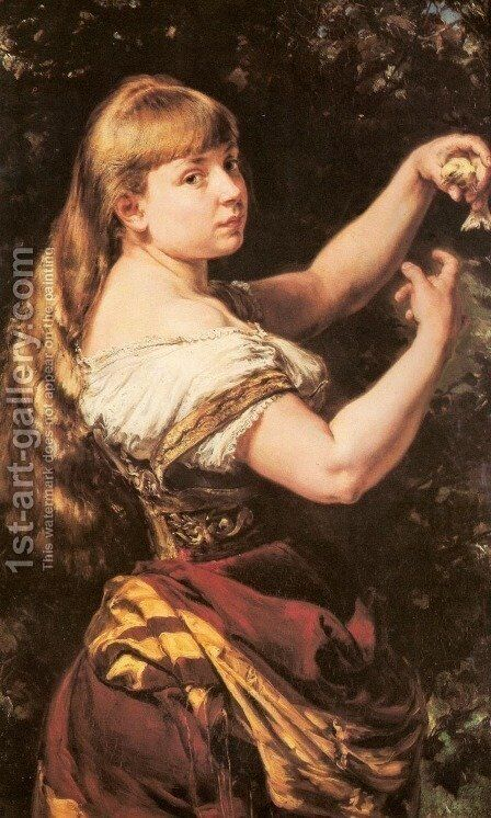 Portrait of the Artist's Daughter Beata with a Canary by Jan Matejko - Reproduction Oil Painting