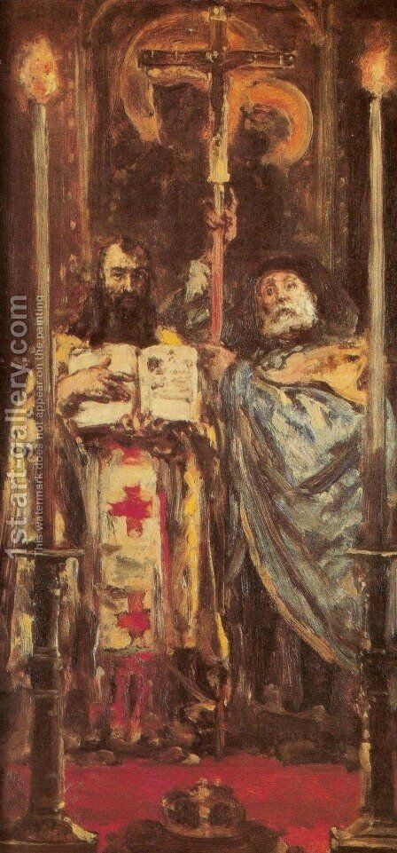 St. Cyril and St. Methodius by Jan Matejko - Reproduction Oil Painting