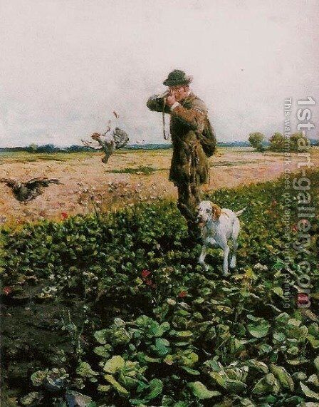 Hunting by Alfred Wierusz-Kowalski - Reproduction Oil Painting