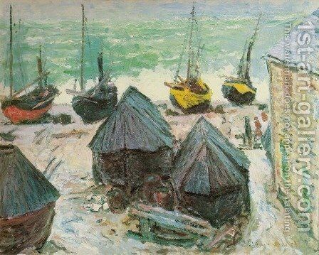 Boats in Winter Quarters, Etretat by Claude Oscar Monet - Reproduction Oil Painting