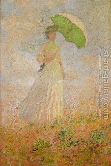 Lady with a Parasol by Claude Oscar Monet - Reproduction Oil Painting