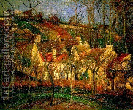 Red Roofs, a Corner of the Village in Winter by Camille Pissarro - Reproduction Oil Painting