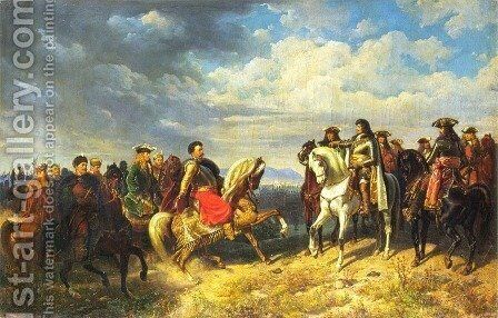 Meeting of King John III Sobieski with Emperor Leopold I near Schwechat by Artur Grottger - Reproduction Oil Painting