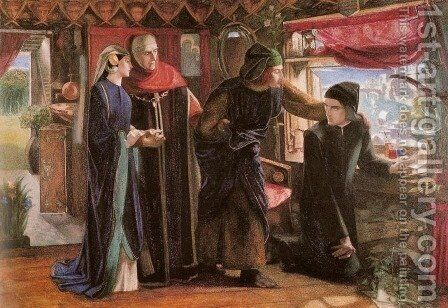First Anniversary of the Death of Beatrice (Dante drawing an Angel) by Dante Gabriel Rossetti - Reproduction Oil Painting