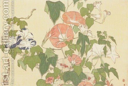 Convolvulus and Tree-Frog by Katsushika Hokusai - Reproduction Oil Painting