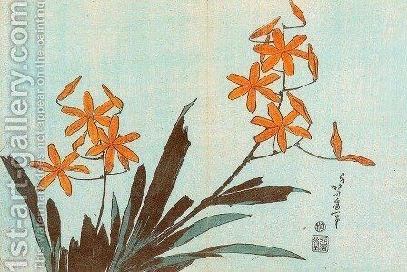 Orange Orchids by Katsushika Hokusai - Reproduction Oil Painting