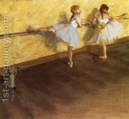 Dancers Practicing at the Barre by Edgar Degas - Reproduction Oil Painting