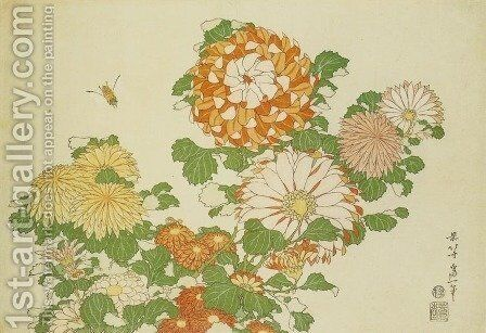 Chrysanthemum and Bee by Katsushika Hokusai - Reproduction Oil Painting