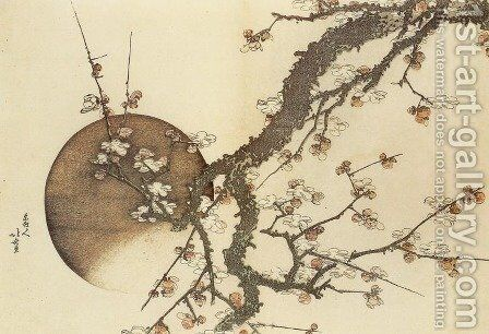 Plum Blossom and the Moon by Katsushika Hokusai - Reproduction Oil Painting