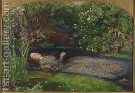 Ophelia  1851-52 by Sir John Everett Millais - Reproduction Oil Painting