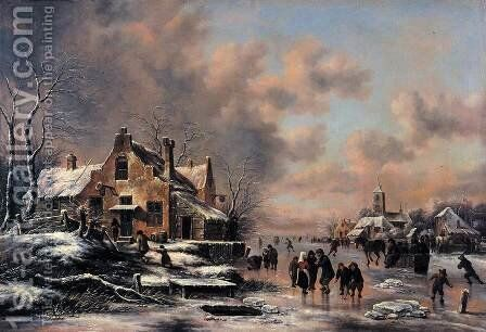 Winter Landscape 1660s by Claes Molenaar (see Molenaer) - Reproduction Oil Painting