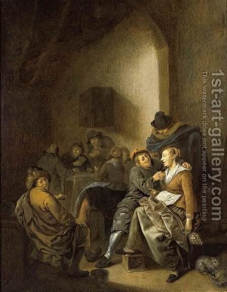 Amorous Couple in an Inn 1640s by Jan Miense Molenaer - Reproduction Oil Painting