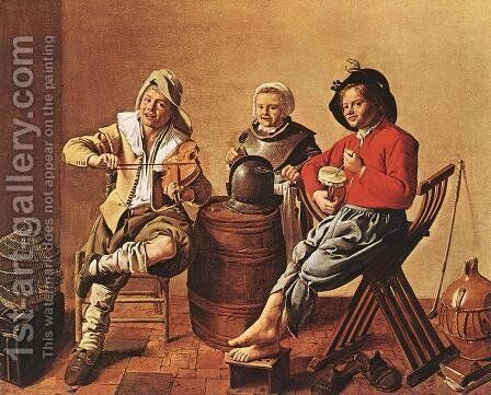 Two Boys and a Girl Making Music 1629 by Jan Miense Molenaer - Reproduction Oil Painting