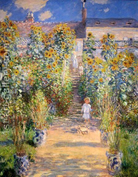 The Artist's Garden at Vetheuil  1880 by Claude Oscar Monet - Reproduction Oil Painting