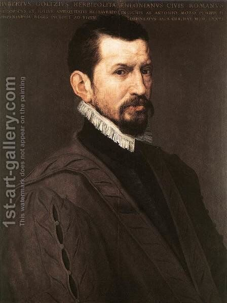 Portrait of Hubert Goltzius 1574 by Anthonis Mor Van Dashorst - Reproduction Oil Painting