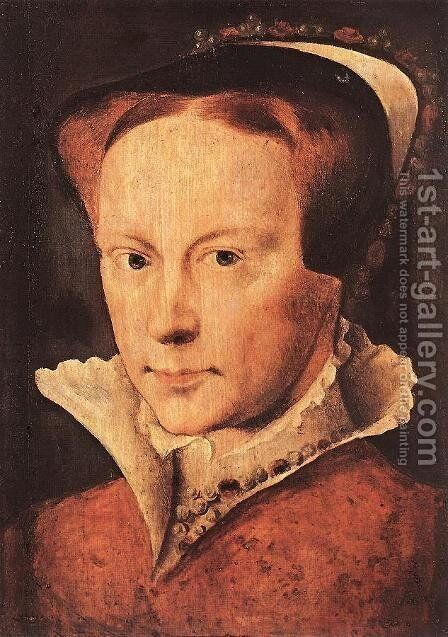 Portrait of Mary, Queen of England c. 1554 by Anthonis Mor Van Dashorst - Reproduction Oil Painting