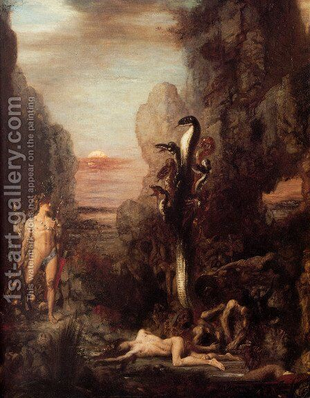 Hercules and the Lernaean Hydra 1869-76 by Gustave Moreau - Reproduction Oil Painting