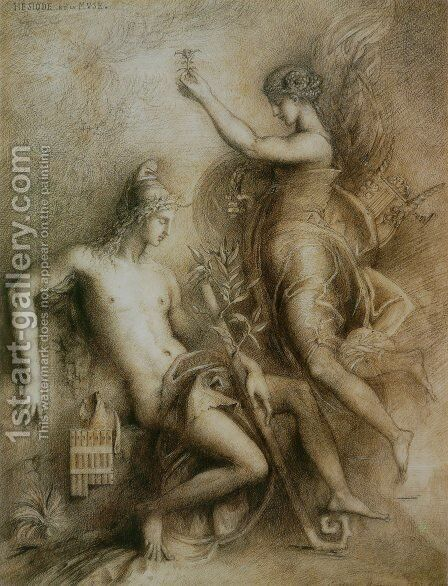 Hesiod and the Muse 1857 by Gustave Moreau - Reproduction Oil Painting