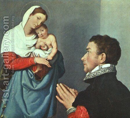 A Gentleman in Adoration before the Madonna 1560 by Giovanni Battista Moroni - Reproduction Oil Painting