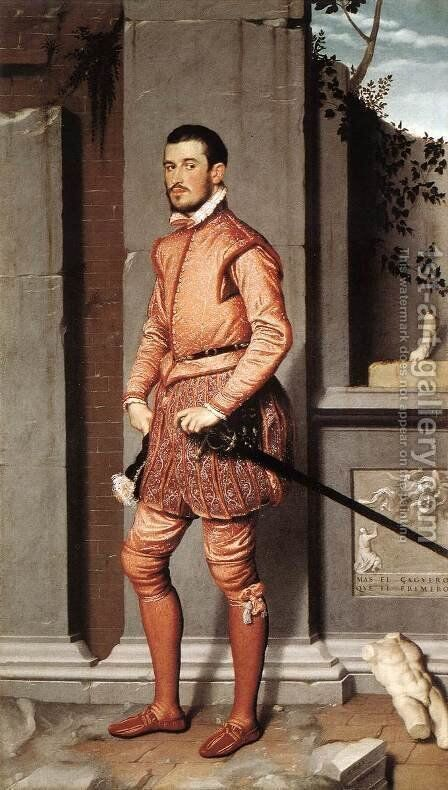 The Gentleman in Pink 1560 by Giovanni Battista Moroni - Reproduction Oil Painting