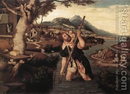 Hilly River Landscape with St Christopher by Jan Mostaert - Reproduction Oil Painting