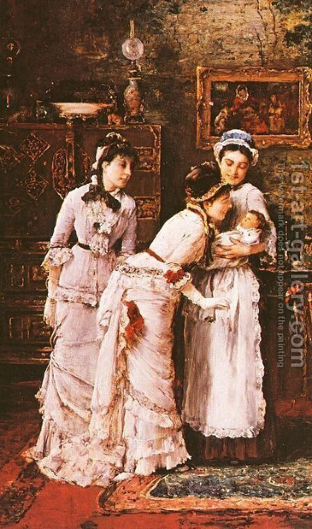 Baby's Visitors (Babalatogatoban- Reszlet)  (detail)  1879 by Mihaly Munkacsy - Reproduction Oil Painting