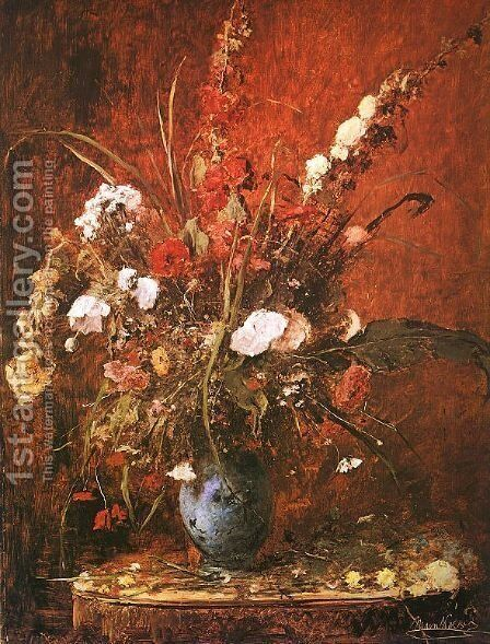 Large Flower-piece (Nagy viragcsendelet)  1881 by Mihaly Munkacsy - Reproduction Oil Painting