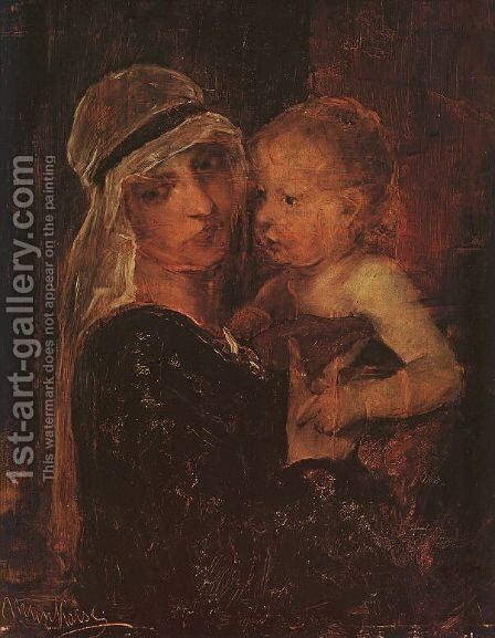 Mother and Child - Study for Christ before Pilate (Anya Gyermekkel- Tanulmany a Krisztus Pilatus elott cimu kephez)  1880 by Mihaly Munkacsy - Reproduction Oil Painting